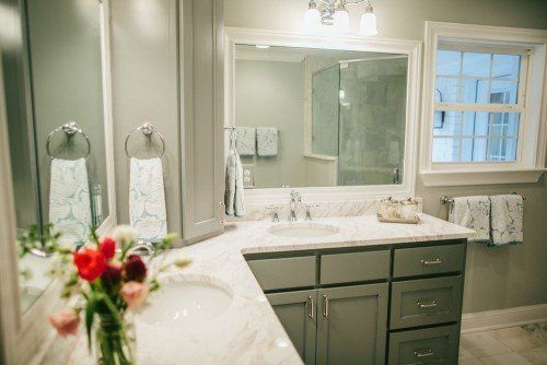 Bathroom Remodels On Fixer Upper fixer upper | joanna gaines, marble countertops and intellectual gray