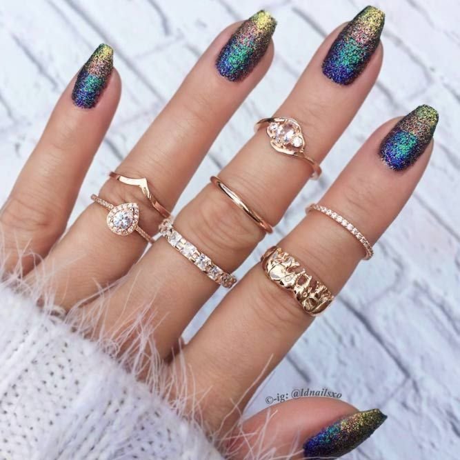 27 Cute Winter Nails Designs to Inspire Your Winter Mood   Winter nails,  Glitter ombre nails and Nail pictures - 27 Cute Winter Nails Designs To Inspire Your Winter Mood Winter