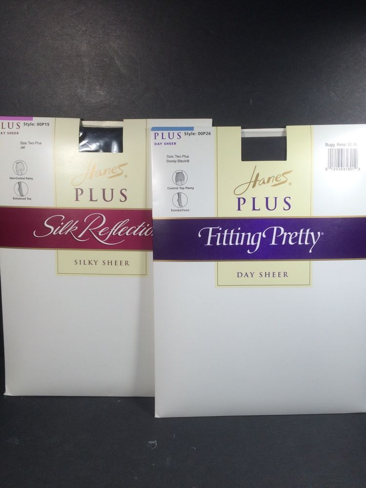 797363a23c2 2 Pair Hanes Plus Pantyhose Day Sheer Size Two Plus Jet and Barely Black   Hande  Pantyhose