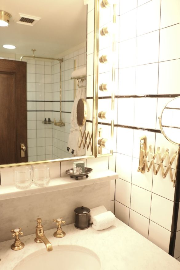 The Ludlow Hotel Bathroom U2014 Black And White Tile, Brass Fixtures.