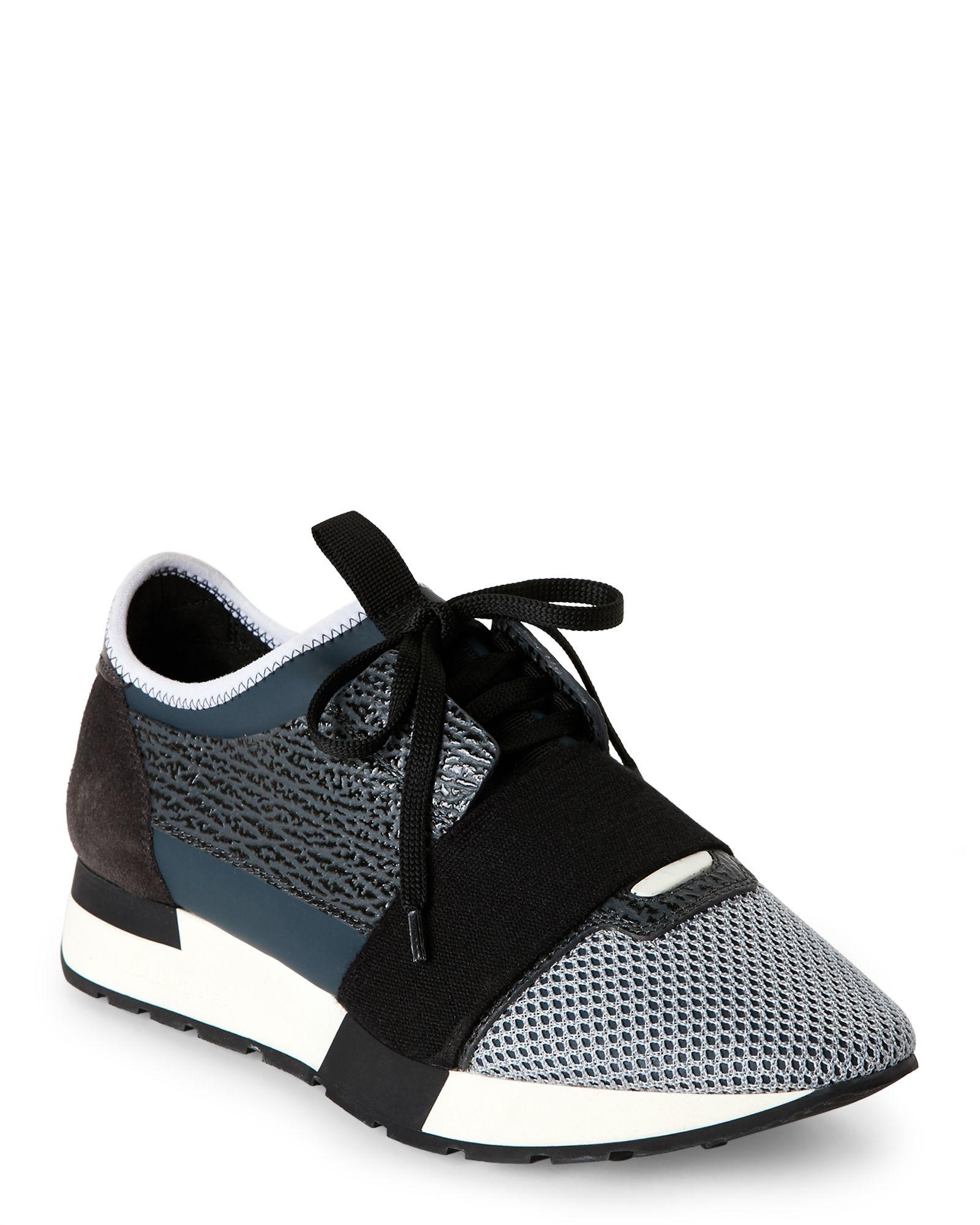 Balenciaga Grey & Black Race Runner Mixed Media Jogger Sneakers