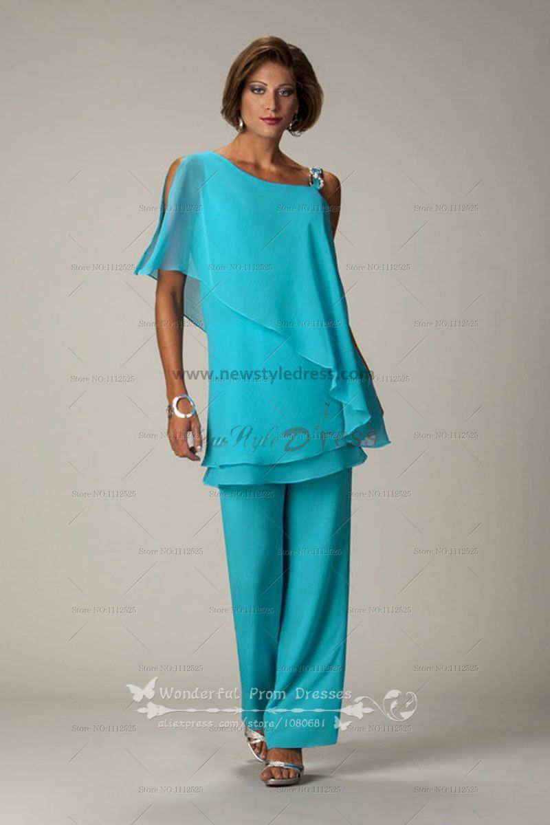 green Latest Fashion Chiffon mother of the bride pants suits nmo-014 ...