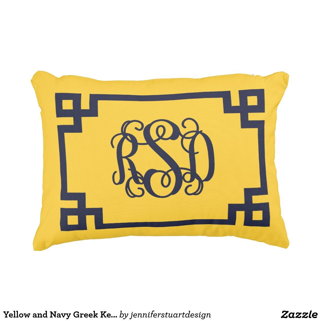 Greek Key Decorative Pillows Part - 38: Yellow And Navy Greek Key Script Monogram Decorative Pillow