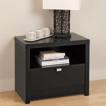 Best Series 9 Designer Collection 1 Drawer Nightstand Black 400 x 300