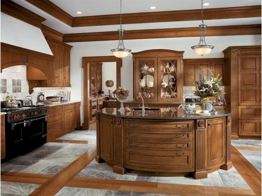 Luxurious kitchen with wooden cabinets and unique flooring-Home and