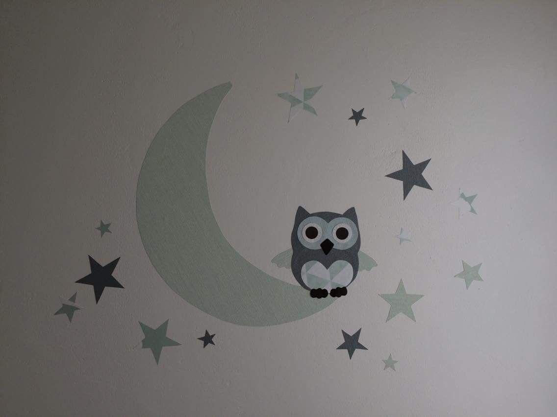 Babykamer Behang Sterren : Muurdecoratie babykamer mint groene maan met uil en sterren behang