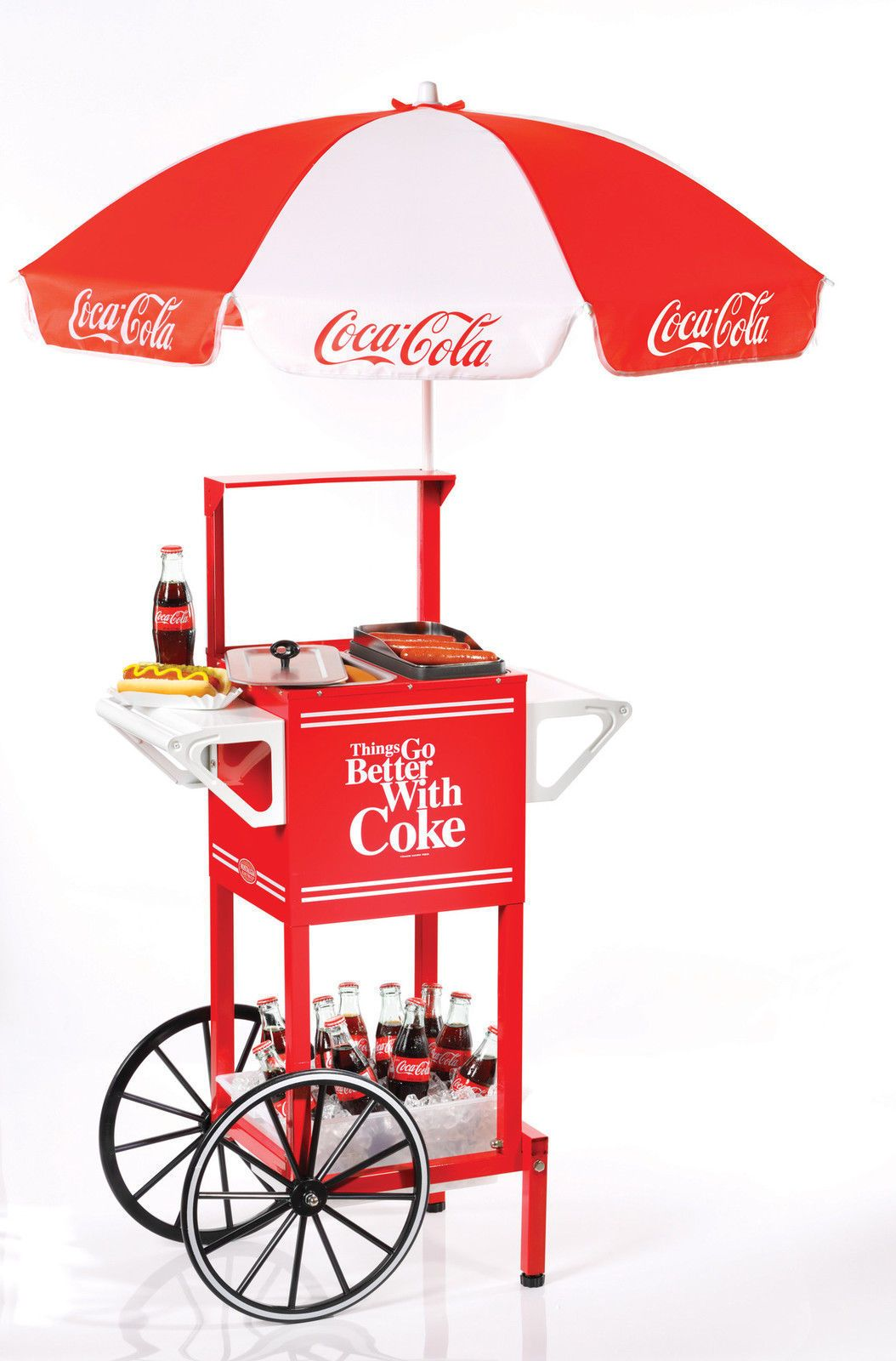 Coca Cola Hot Dog Party Umbrella Cart Nostalgia Coke Soda Drinks