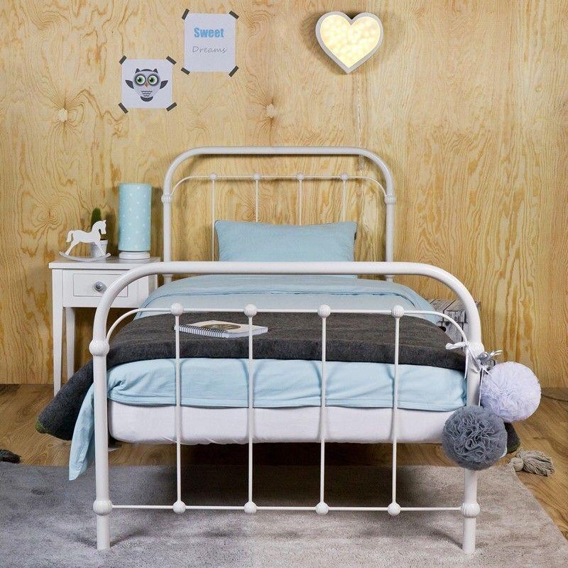 Amita Metallbett Eisenbett 90x200 Cm Im Retro Stil Kinderzimmer Weiss Bett Bett Ideen