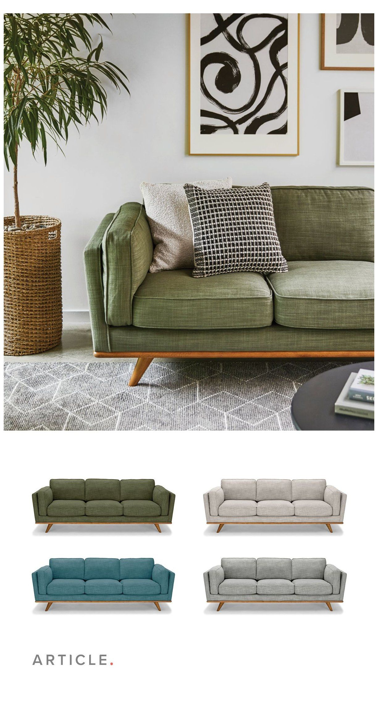Timber Sofa #green #linen #sofa #greenlinensofa Laid back and easy