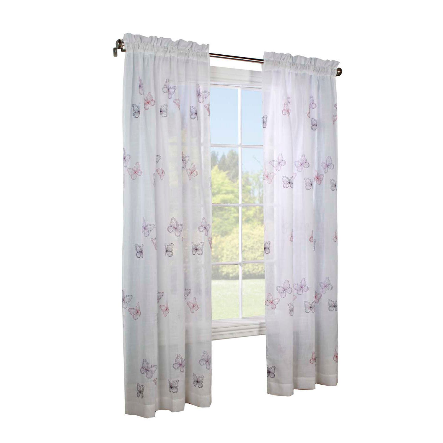 Legacy j papillon faux linen embroidered window pole top panel