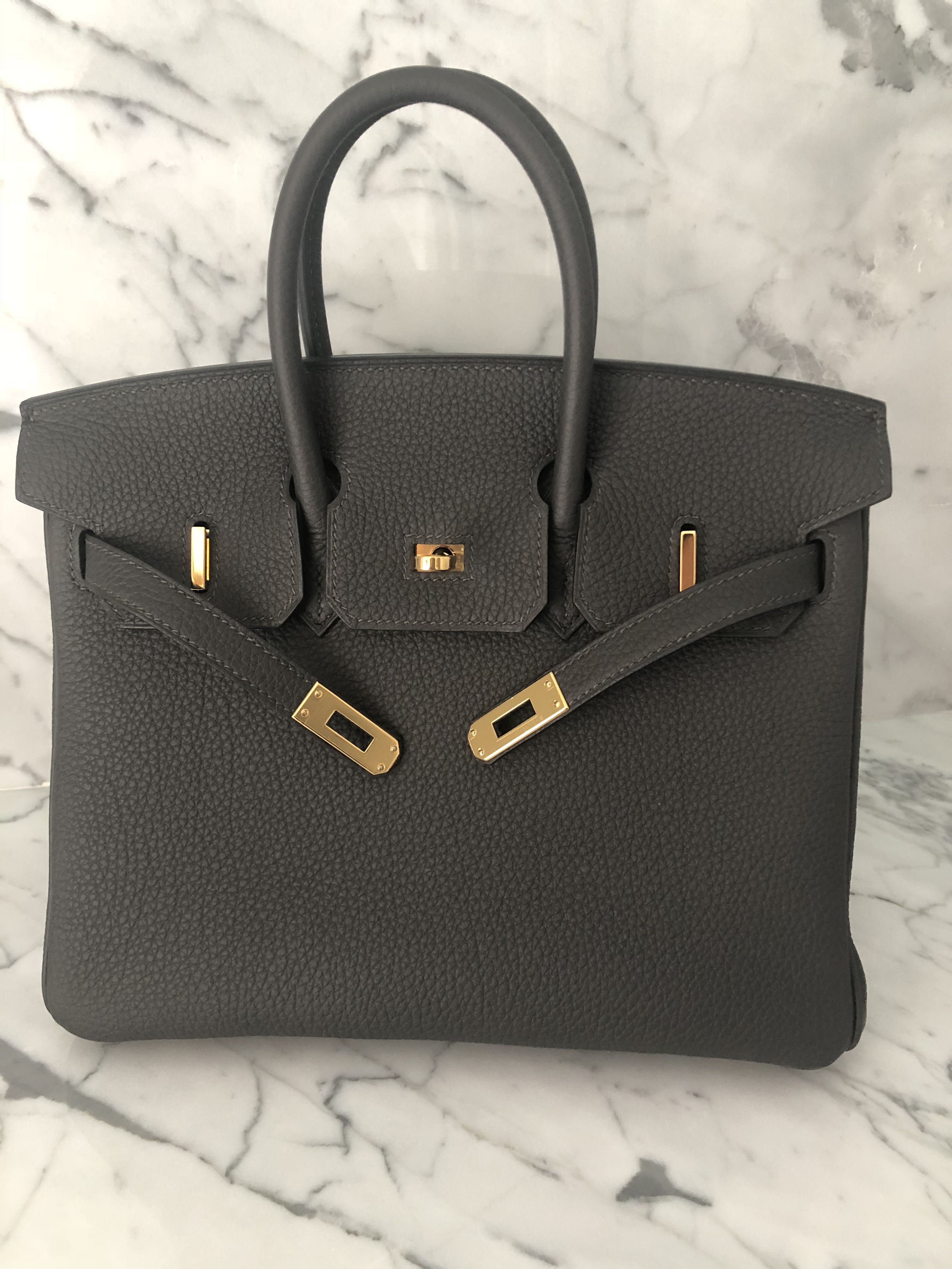 Hermes Birkin 25 in Graphite w  GHW   Orange box in 2019   Pinterest ... af34d623bf