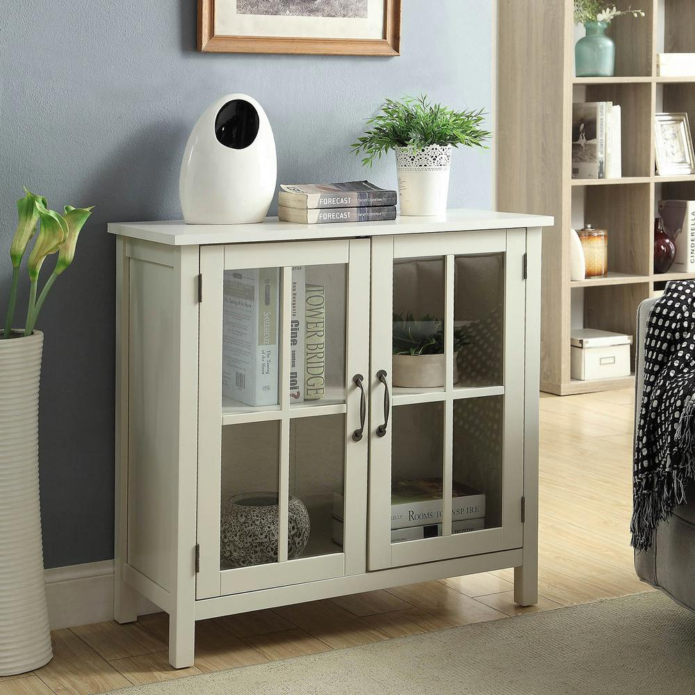 Usl Olivia White Accent Cabinet And 2 Glass Doors Sk19087c2 Pw The Home Depot Home Decor Kitchen House Interior Decor Home Styles