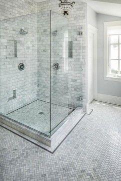 Bathrooms Herringbone Floor Carrara Marble Herringbone Bathroom