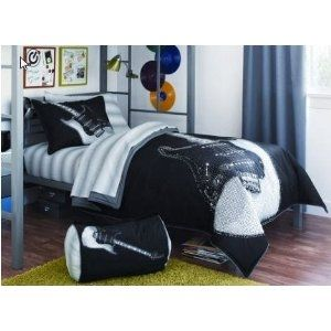 Black White Rock Star Guitar Twin Xl Comforter Set 6 Piece Bed