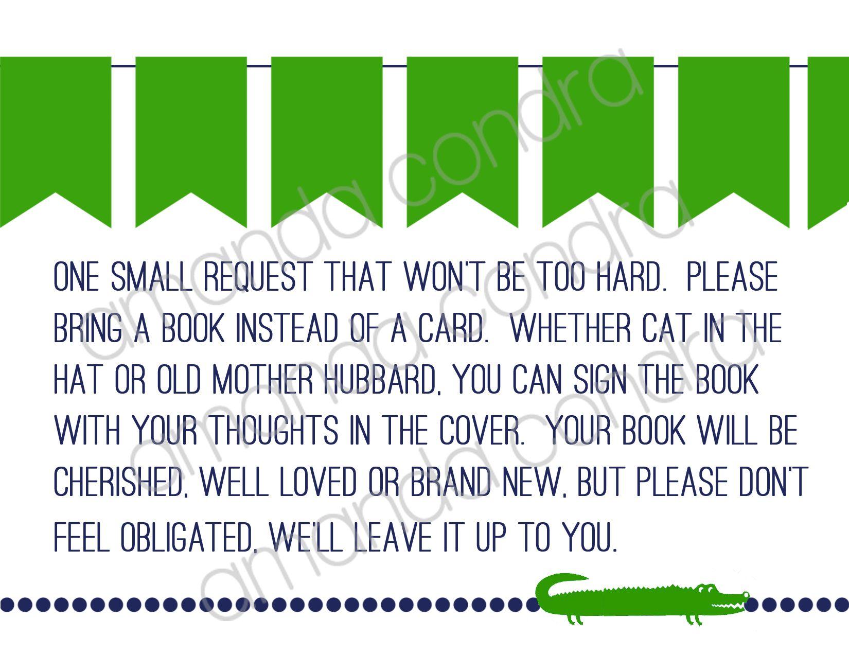 Preppy Alligator Baby Shower Invitation Insert | Shower ideas ...