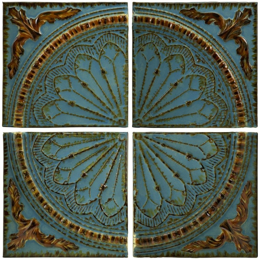 French Quarter Home Decor Large Wall Art Medallion Metal 4pc Panels Blue Gold Medallion Wall Art Medallion Wall Decor Turquoise Walls