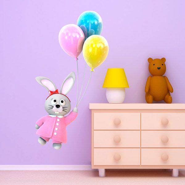 vinilos infantiles conejita volando con globos vinilo pared globos conejita
