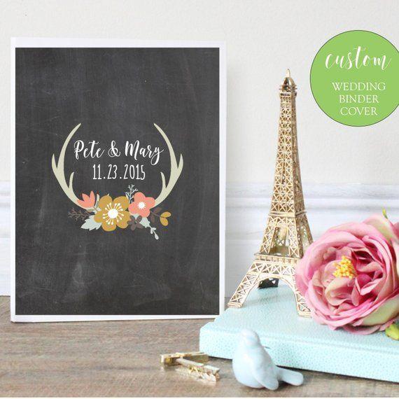Wedding Binder Cover, Printable, Personalized Binder, Printable