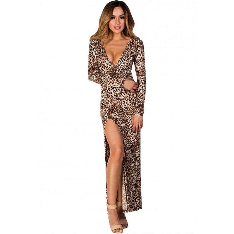 8db05ae0fff1a Womens Sexy Floor Length Black Leopard Print Deep V Neck Long Sleeve High  Slit Belted Maxi Dress