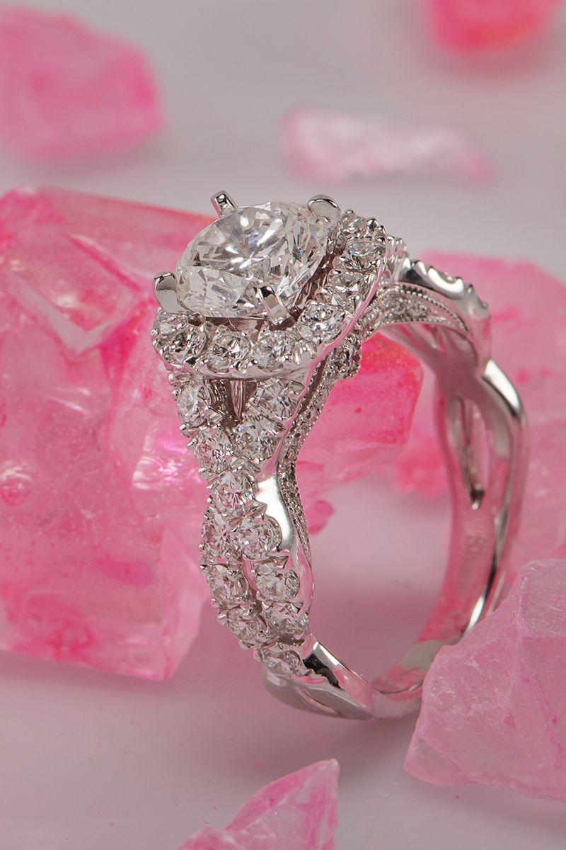 Round Halo Diamond Infinity Engagement Ring   Modern, Ring and Wedding