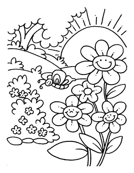 Sun And Flower Coloring Pages Spring Coloring Pages Spring Coloring Sheets Flower Coloring Pages Spring color sheets for kindergarten