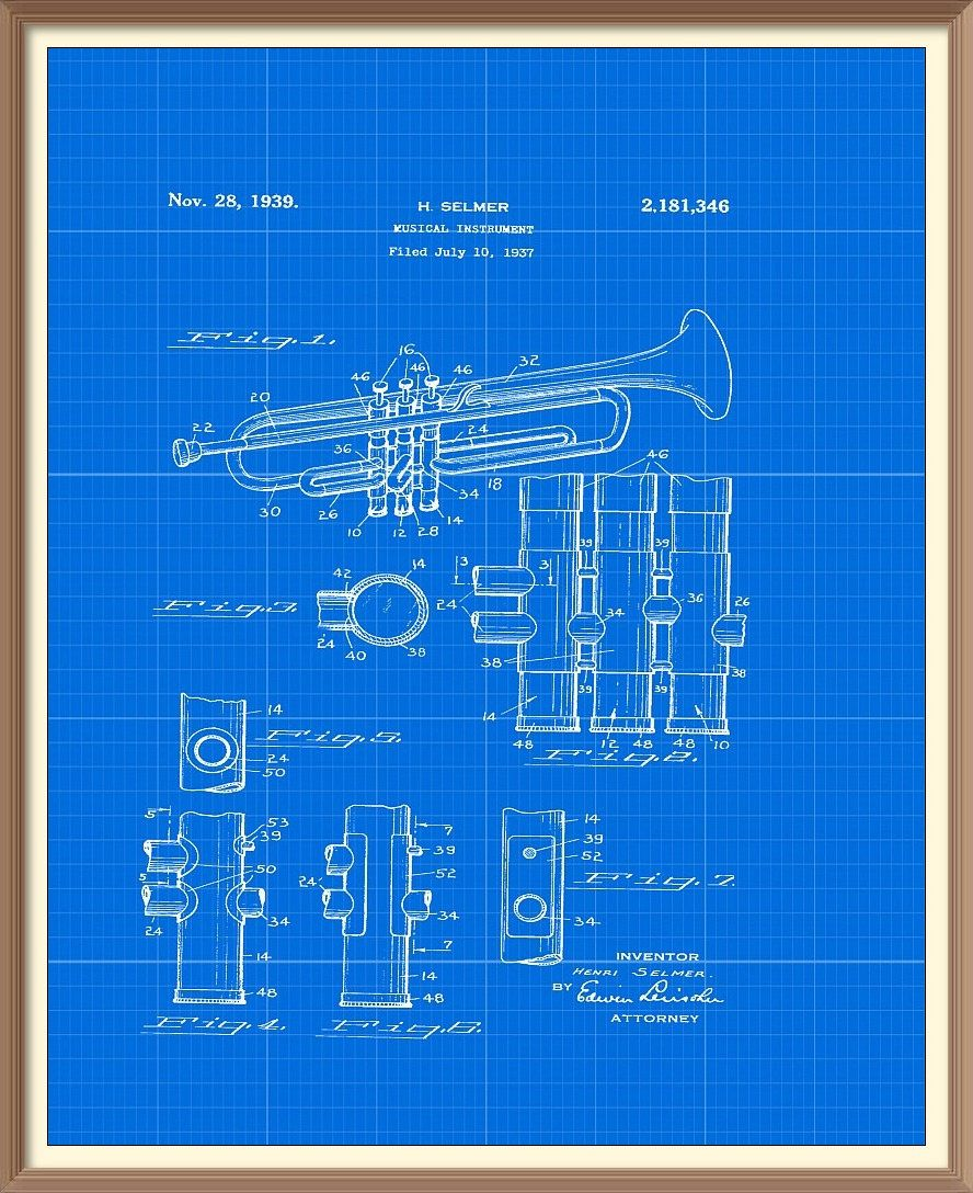 Vintage trumpet patent print 1939 set on a vintage blue blueprint vintage trumpet patent print 1939 set on a vintage blue blueprint background instant download vintage malvernweather Image collections
