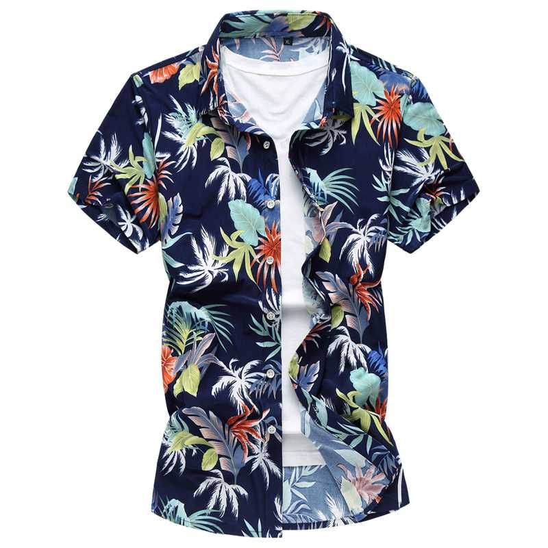 Mens Hawaiian Shirt Floral Printed Holiday Beach Fancy Shirts Short Sleeve UK