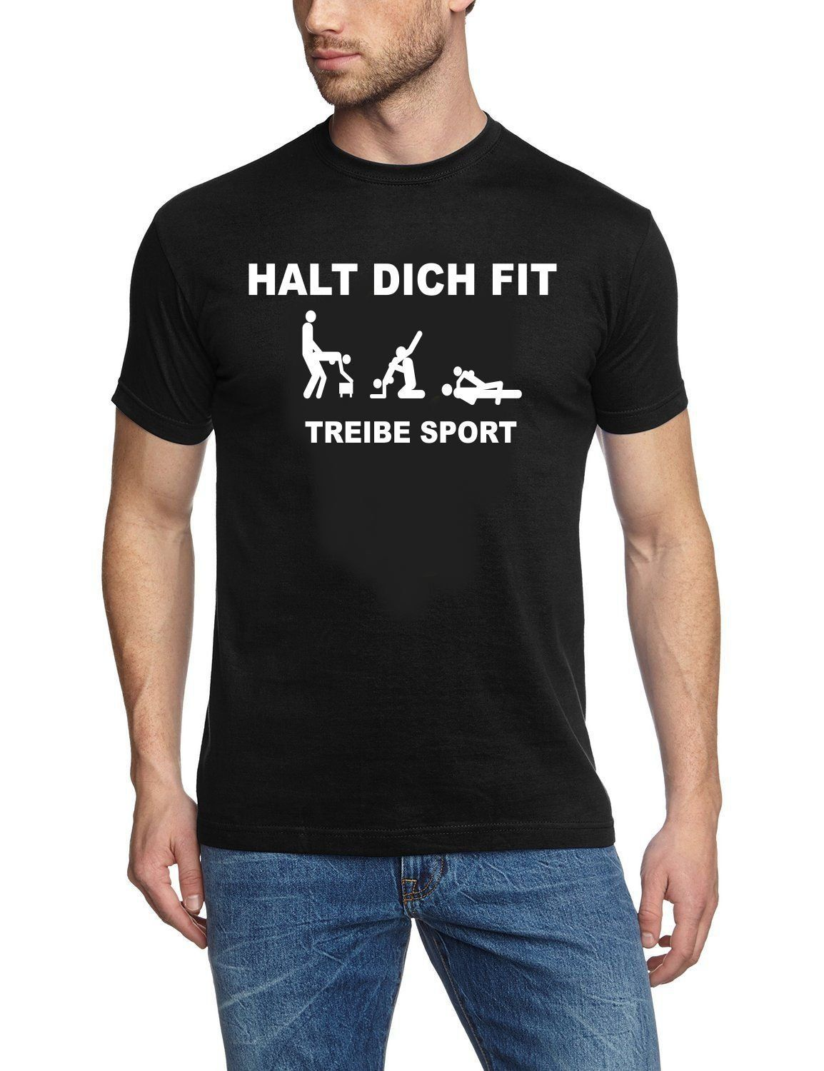 Coole Fun T Shirts Herren T Shirt Halt Dich Fit Treibe Sport