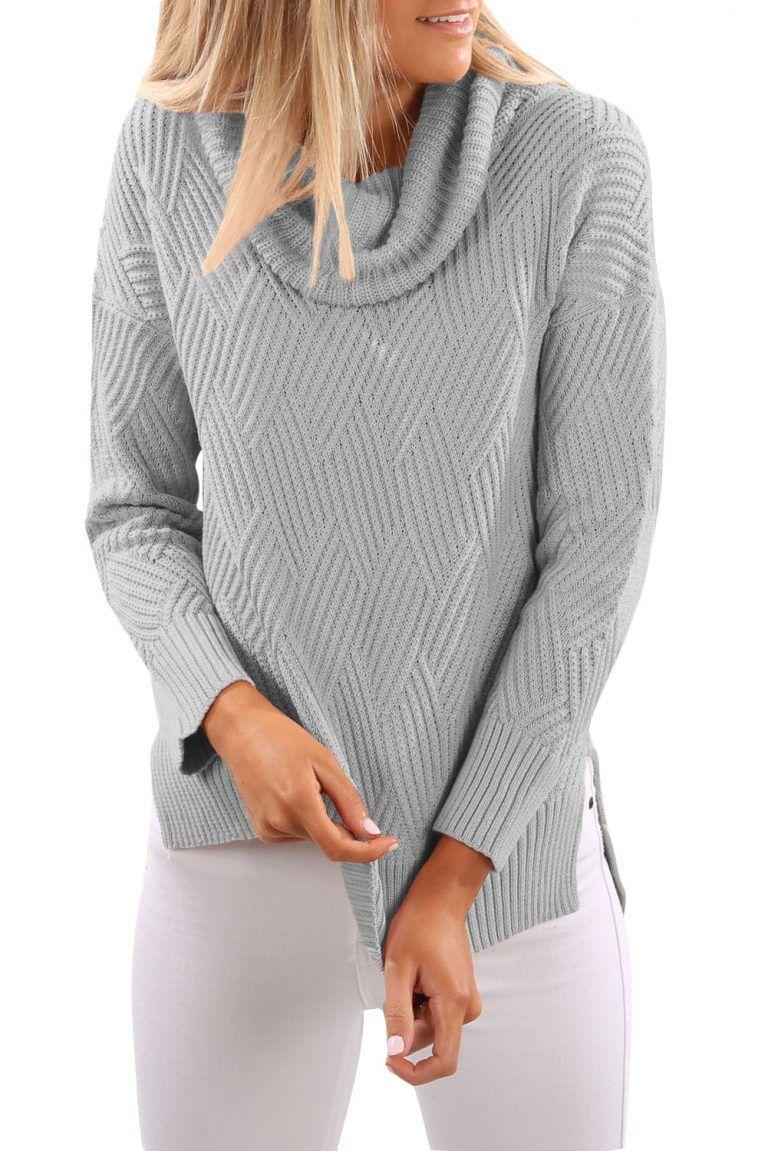 cc5975af7e7c Pulover femei oversize ieftin gri cu guler inalt Iti recomandam acest  produs daca vrei si tu sa iti reinnoiesti garderoba. Cauti modele de  pulovere dama ...