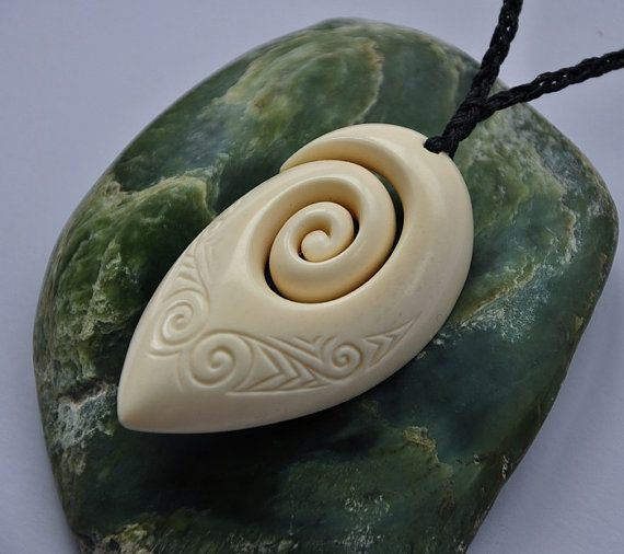 Large Bone Koru Hand Carved With Detailed Engraving Bone Carving Carving Hand Carved