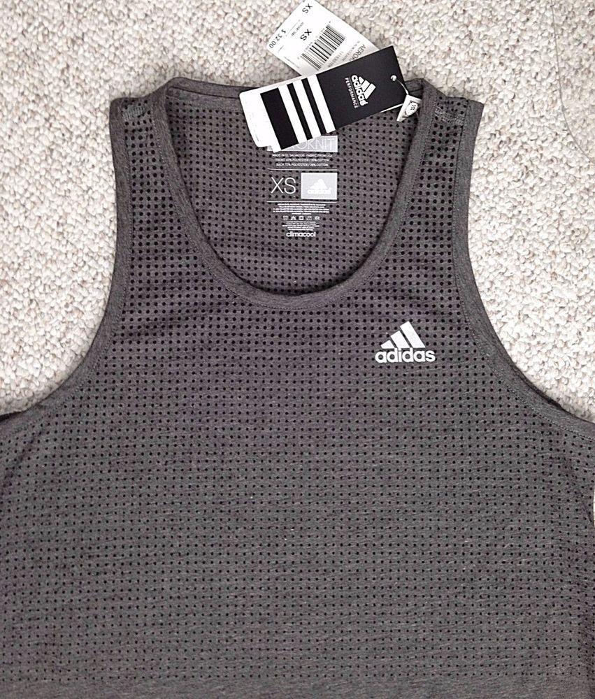 9a3b9f2903f9a New 32 Adidas® Aeroknit ATHLETIC CLIMACOOL TANK TOP Polycotton Dry-Fit MENS  XS  adidas  ShirtsTops