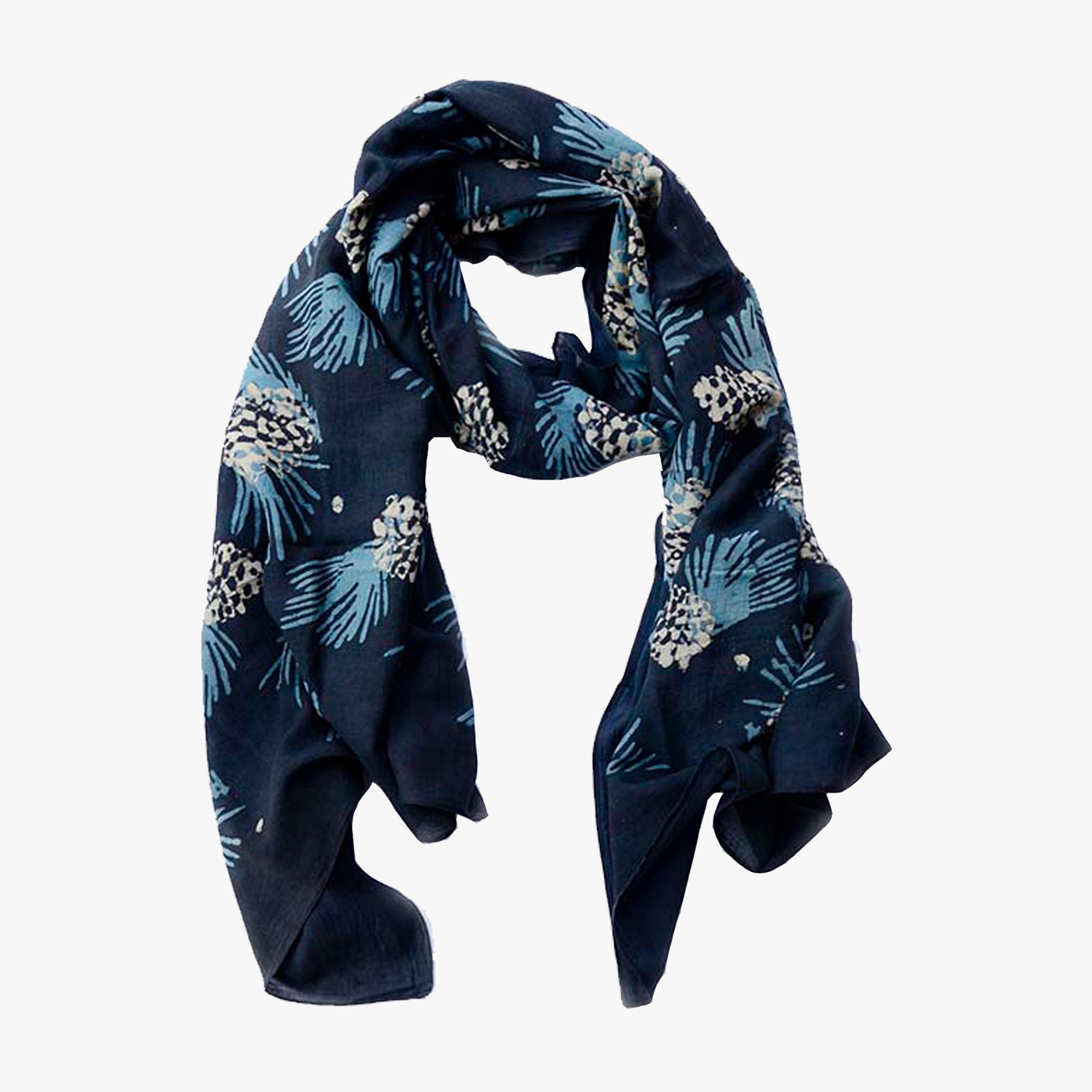 Our Hand Block Printed Pinecone Scarf is woven from luxe lightweight cotton and silk blend. Inspired by nature and dyed with natural indigo.