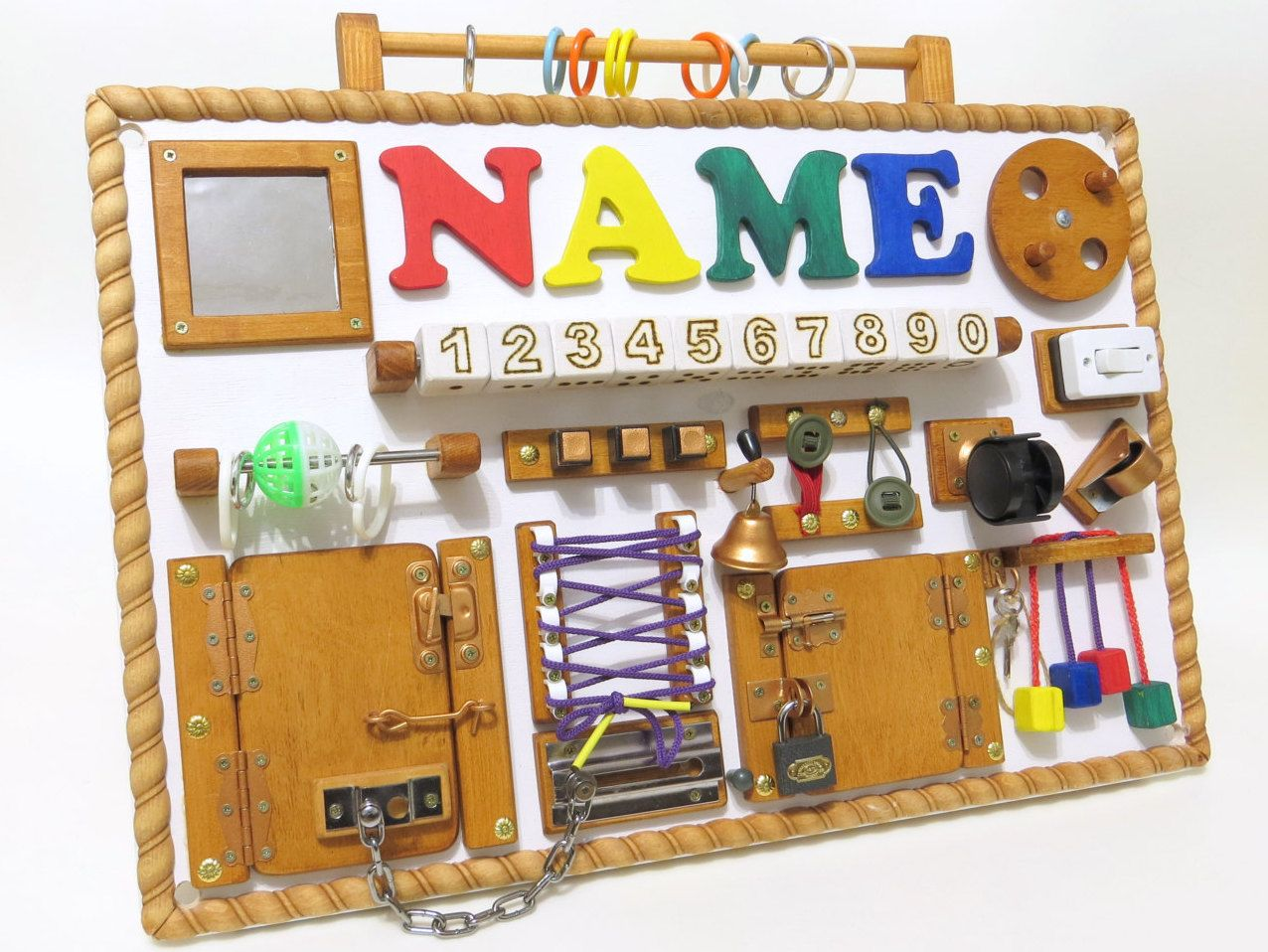 Personalized busy board made to order activity board for Toys to develop fine motor skills in babies