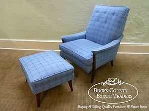 Mid Century Danish Modern Style Lounge Chair Ottoman | eBay. Interesting newer fabric. $795 on buy it now.