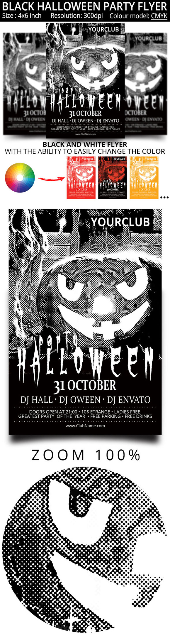 Black and white flyer for the Hallow by oloreon on @creativemarket