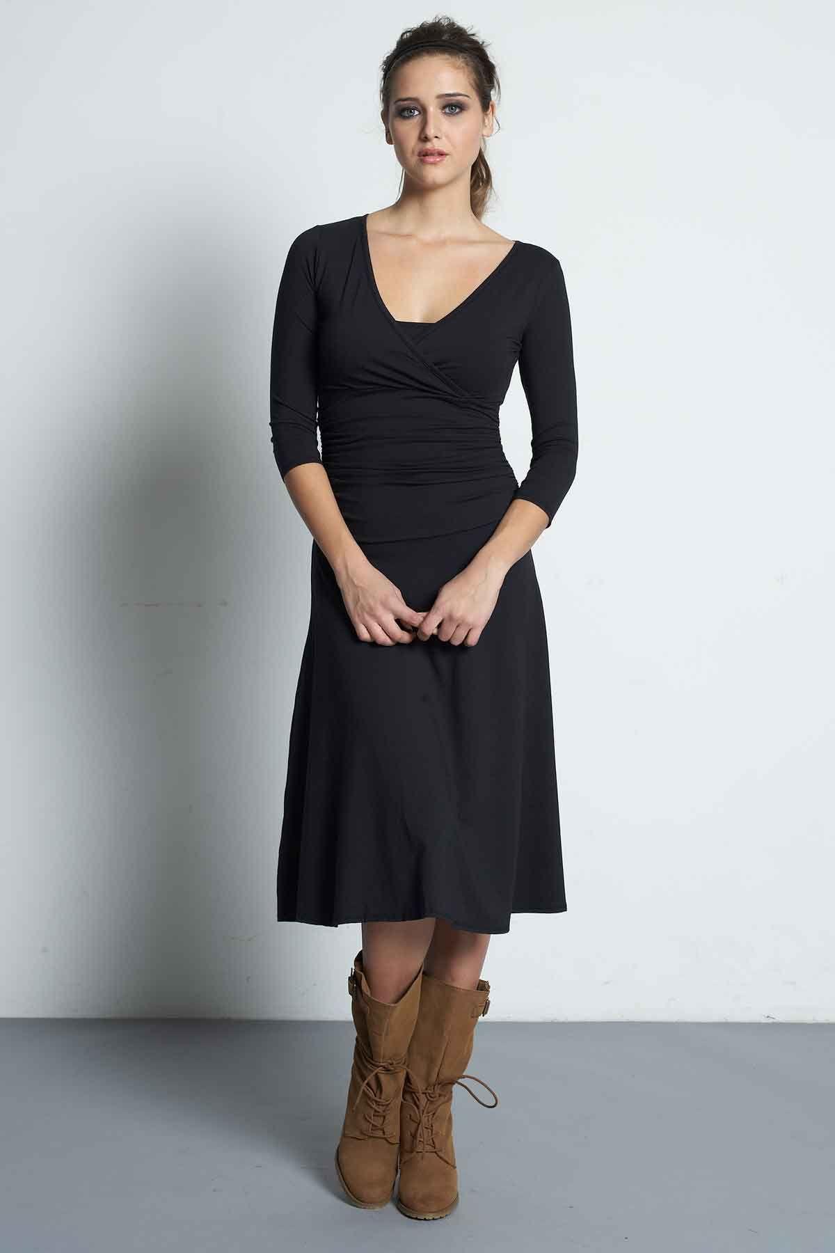 ca73421525bf2 Mothers En Vogue Dana 3/4 Sleeved Nursing Dress, Black - Izzy's Mum Breastfeeding  Clothing
