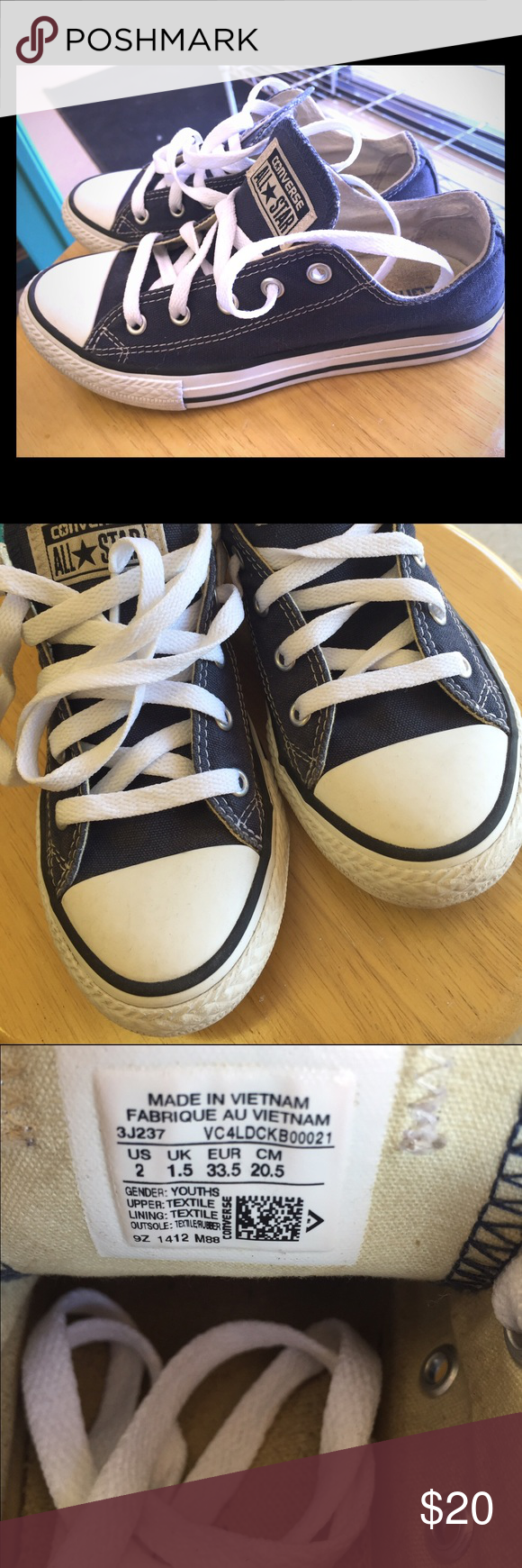 7cf3a8140753 Like new navy blue converse all stars six 2 kids This is a size 2 pair of  converse Allstate-a resale as they were just a hair too small on me.