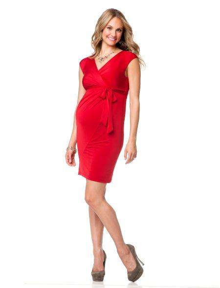 Motherhood Maternity Dresses > Day Dresses > Jessica Simpson Short Sleeve Faux Wrap Maternity Dress close up