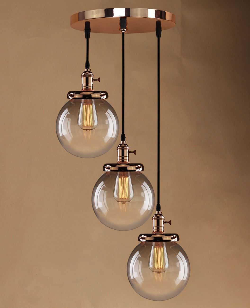Retro Vintage Cluster Hanging Ceiling Lights Globe 3 Glass Shades Pendant Lamp