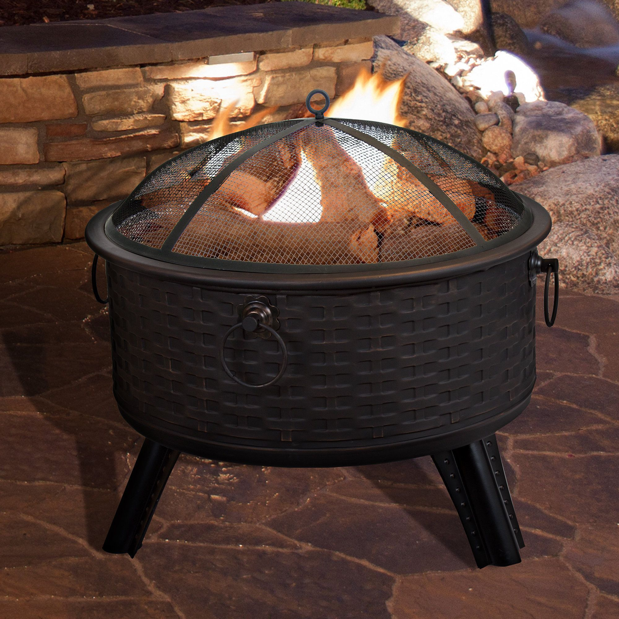 pure garden 26 round woven metal fire pit with cover antique