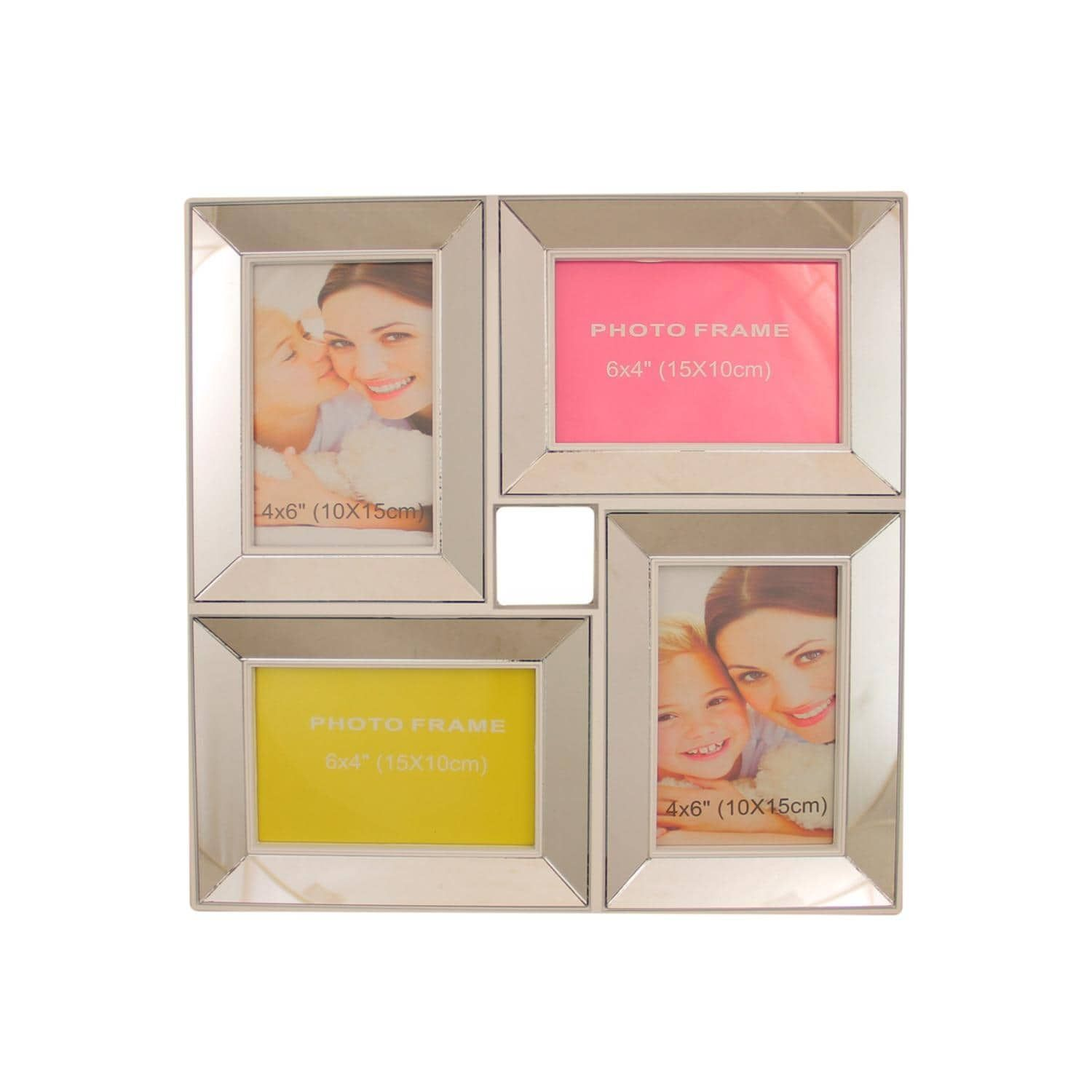 1375 White Trimmed Glass Encased Photo Picture Frame Collage Wall