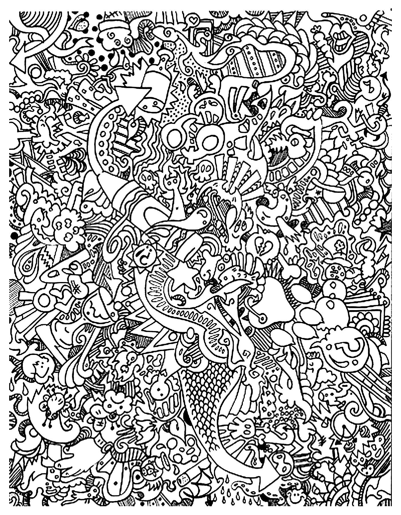 Free coloring page coloring doodle art doodling 18 very for Free doodle art coloring pages