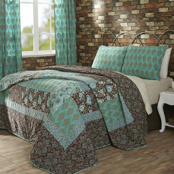 Vhc Marci Turquoise Brown Cotton 3pc Quilt Bedspread Bedding Set