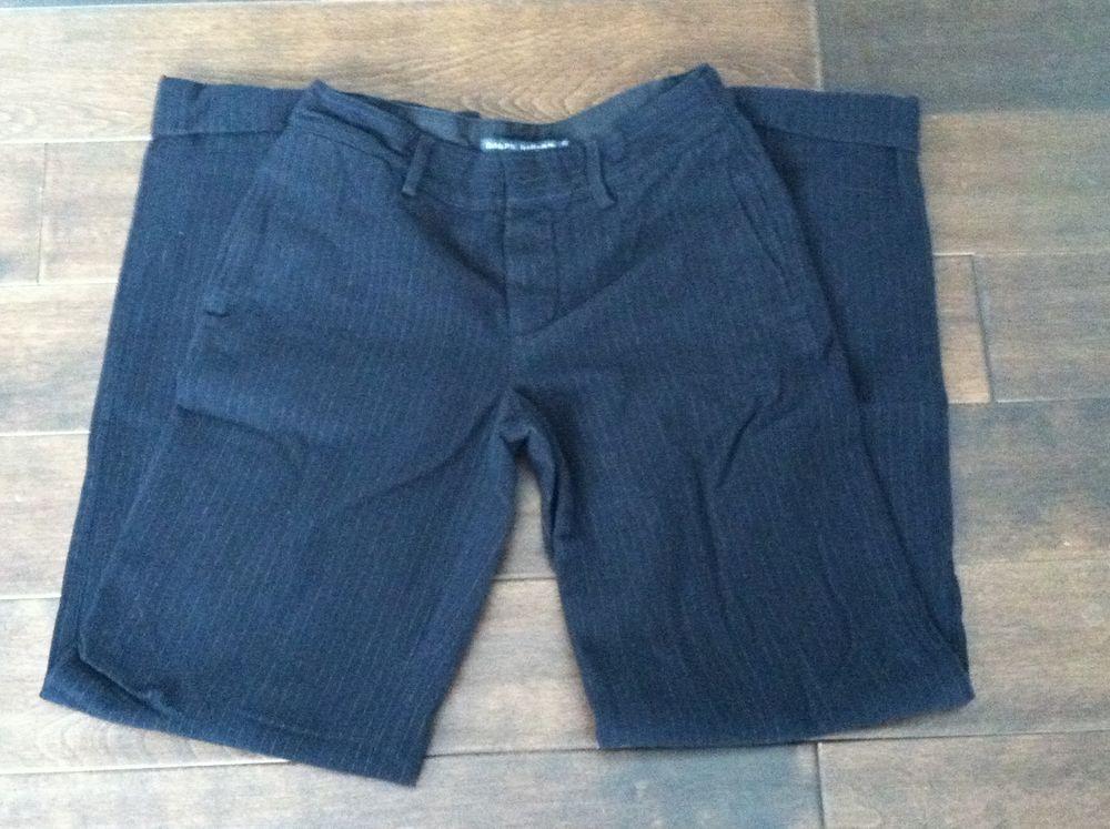 Ralph Lauren Womens Black Pinstripe Dress Pants Size 2 #RalphLauren #DressPants