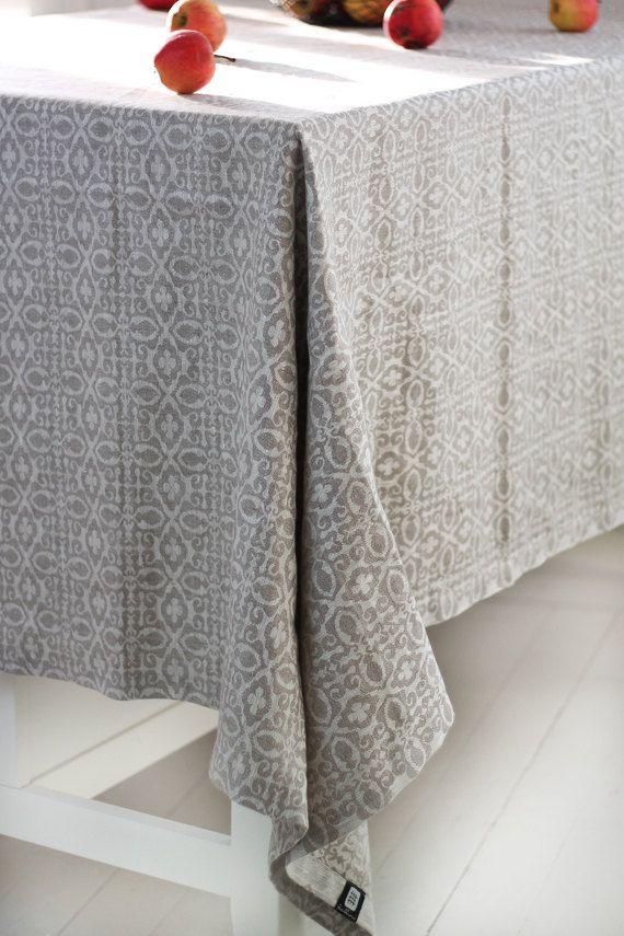 Linen tablecloth, natural linen table cloth, jacquard linen tablecloth, square tablecloth, rectangle tablecloth, rustic linen tablecloth