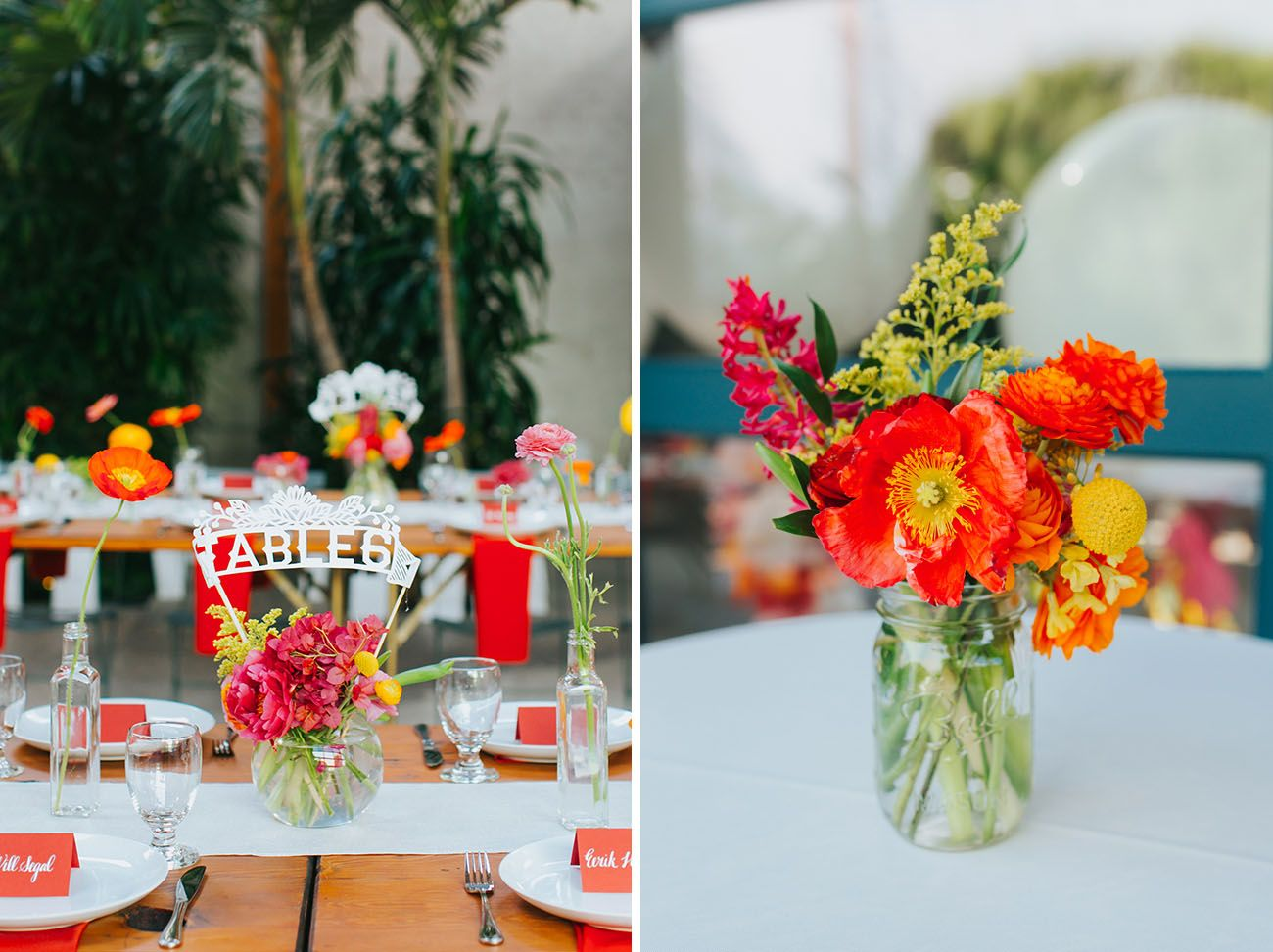 Colorful LA Wedding with a Giant Paper Cut Ceremony Backdrop ...