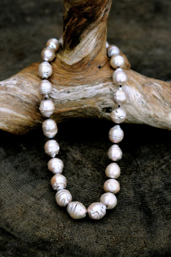 silver grey baroque pearl choker necklace, black jade clasp, large silver  grey baroque pearls