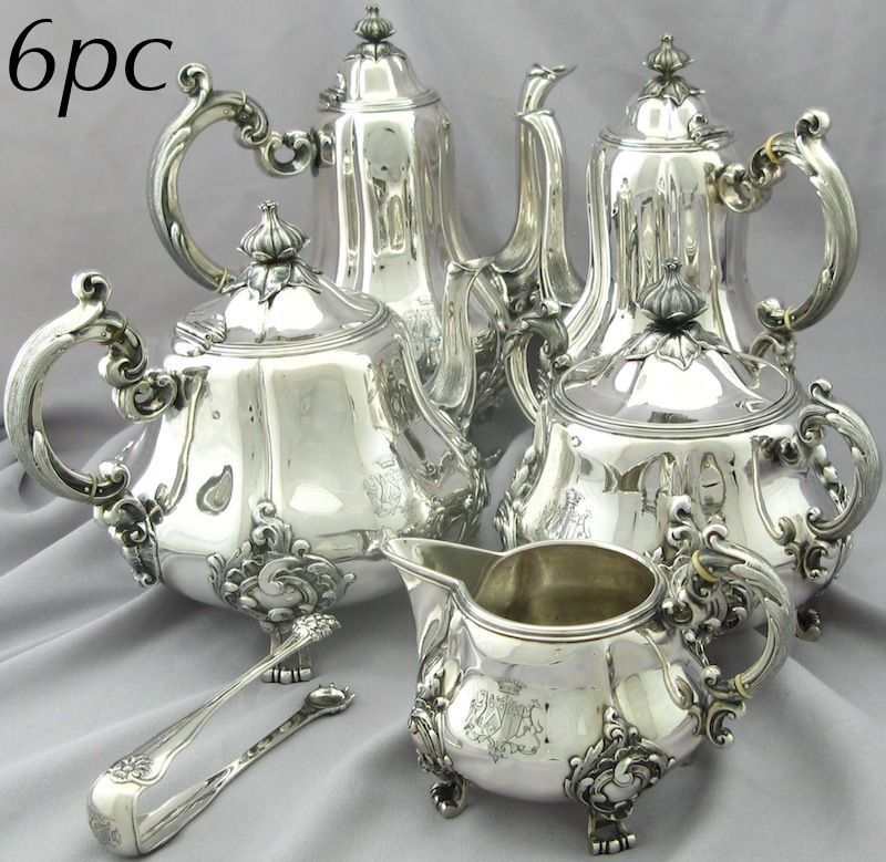 silver service set | Antique French Sterling Silver Tea Coffee Service Set 6pc w/Coats of ...