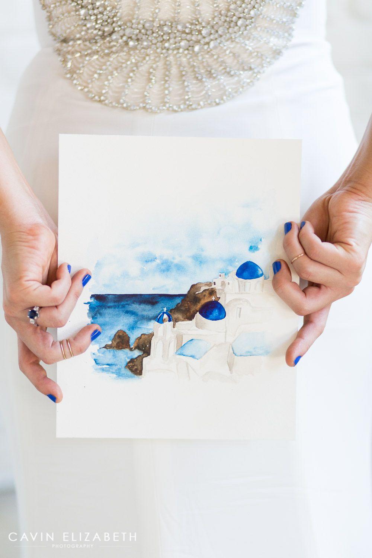 Santorini Greece Wedding Inspiration in San Diego | Watercolor and ...