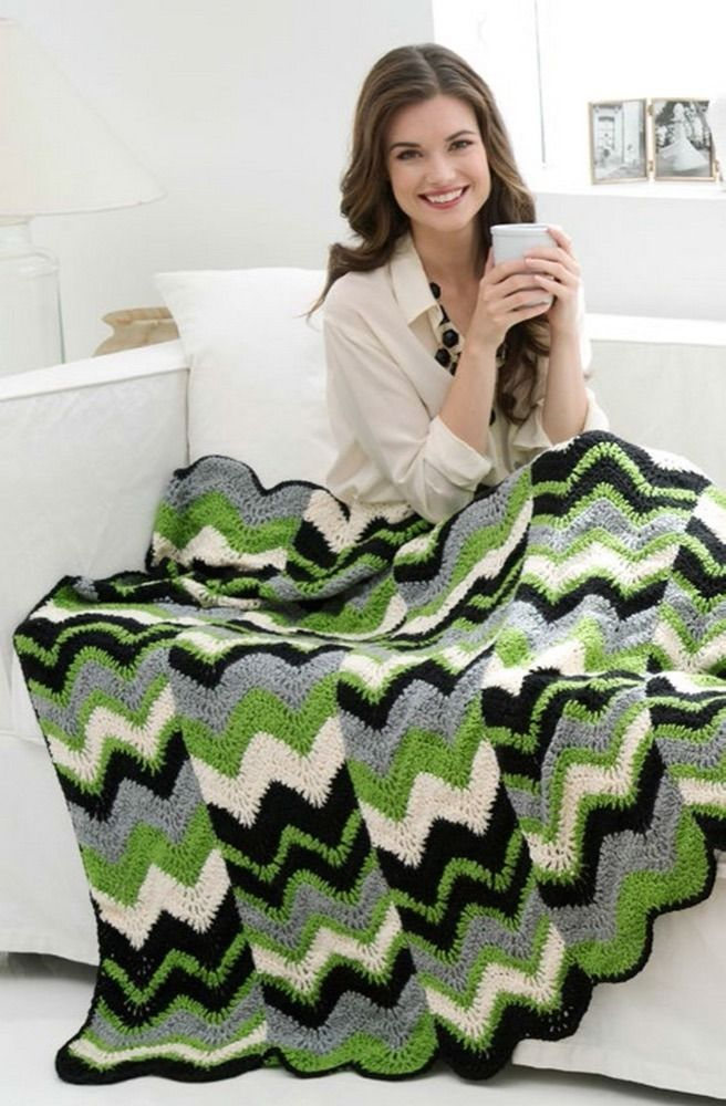 Ripple Strips Throw in Red Heart Soft Solids - LW3157 | Crochet ...